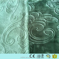 ployester 3D embossed flannel fabric with dark-green color