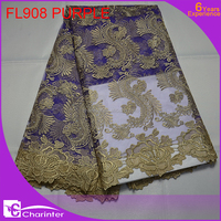 free shipping latest african french lace fabric with sequins fabric/guipure lace fabric with sequins/african lace FL908 PURPLE