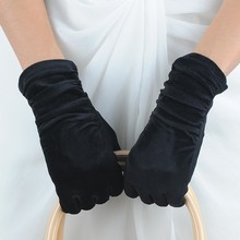 Fashion Black Velvet Ladies Party Gloves with Leather Design