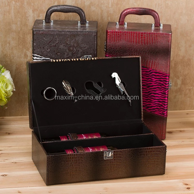 two bottle portable leather wine carrier