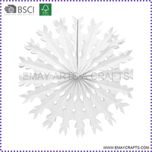 Custom Design White Snowflake Shape Hanging Tissue Paper Fan for party decoration
