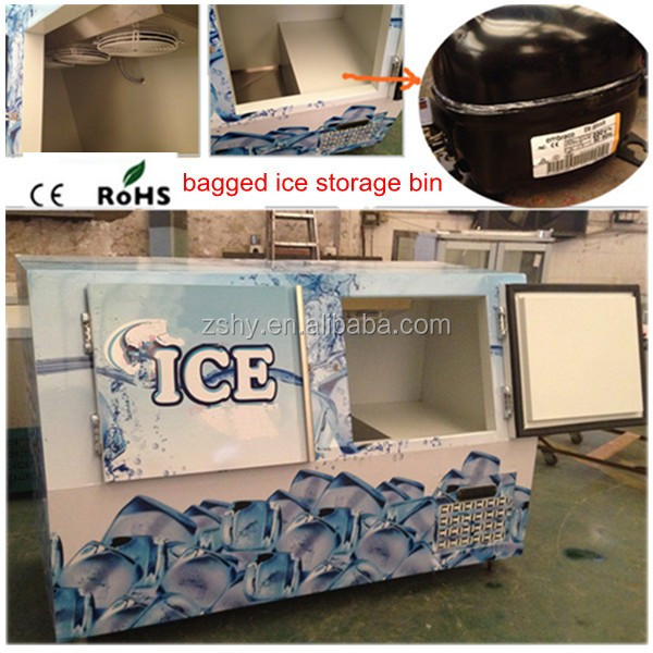 Bagged ice storage bin ice merchandiser VT-570 with low temperature -12degree C