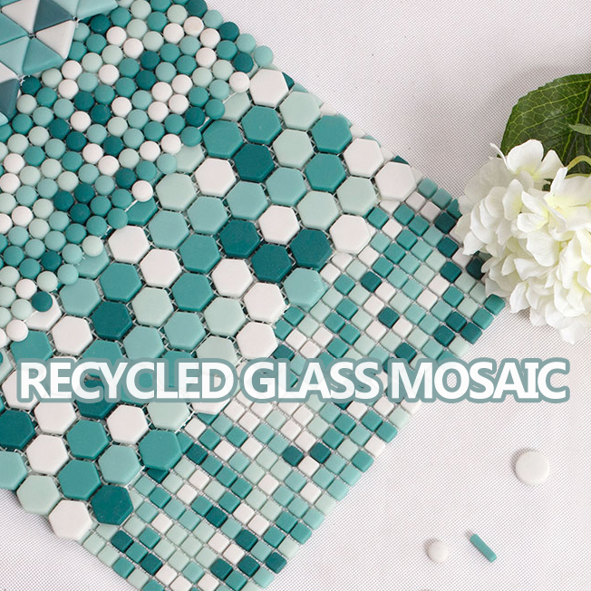 New design decorative hexagon shaped mosaic recycle glass mosaic enamel glass tiles