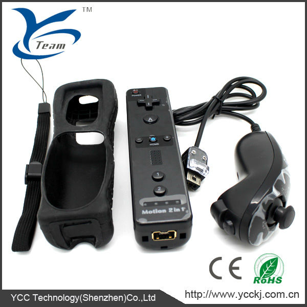 Hot selling controller and nunchuck for wii remote controlls bulit-in motion plus with silicone case and wrist strip