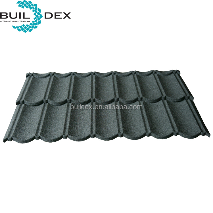 Popular Chinese green colored natural classic stone coated metal roof tile for African house