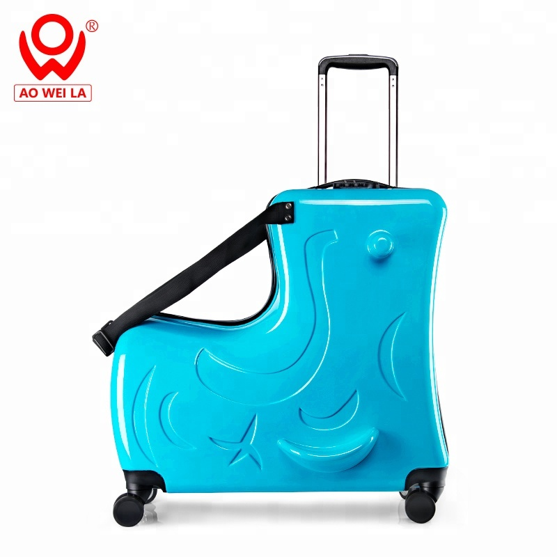 high quality hard shell case lightweight travel PC <strong>ABS</strong> kids suitcase spinner aluminum trolley ride luggage