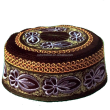 National Crochet Flat Brim Embroidery Muslim Cap Men