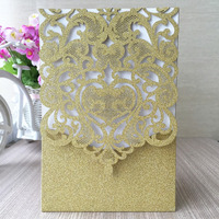 gold wedding invitation card with sparking paper Qj-39