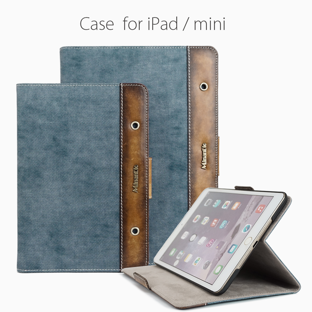 Denim & genuine leather tablet case flip case hobo tablet case for iPad/Mini
