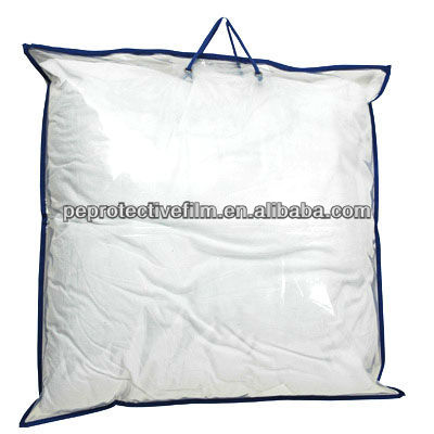Cheap Clear PVC plastic bedding packaging bag for pillow with handles