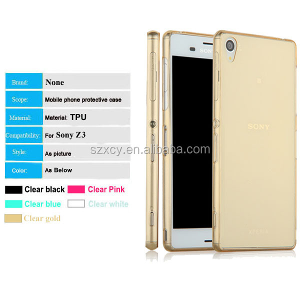 crystal clear tpu mobile phone case for sony xperia Z3, mobile phone accessory from professional factory