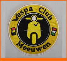 Buy new custom motorbike vespa club embroidery patch with iron on backing