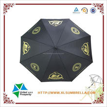 2016 Super cool black Golf umbrella with golden customized logo