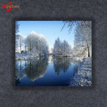 Snow Scenery Oil Painting Christmas Canvas Painting for Wall Decoration