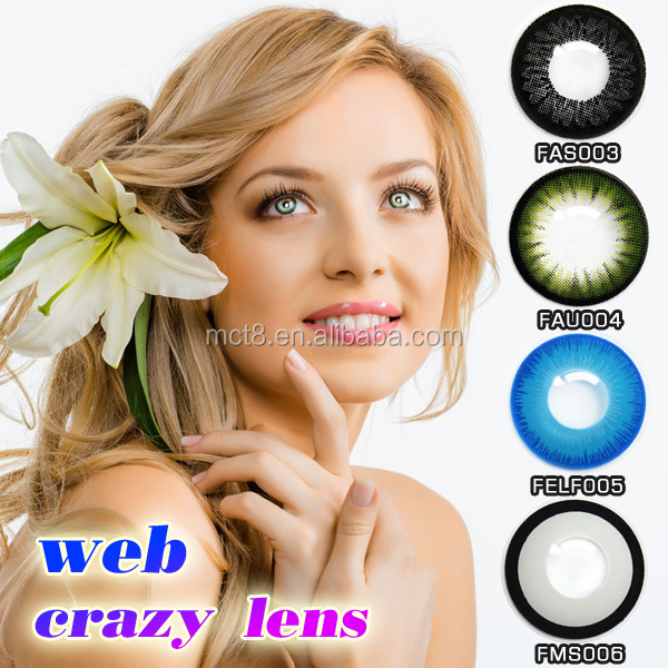 one year korea color contacts black edge big size color contact lens