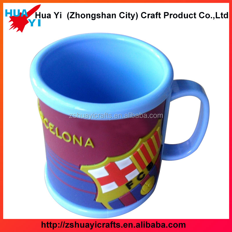 3D soft personalized plastic rubber PVC kids mug plastic drinking cup