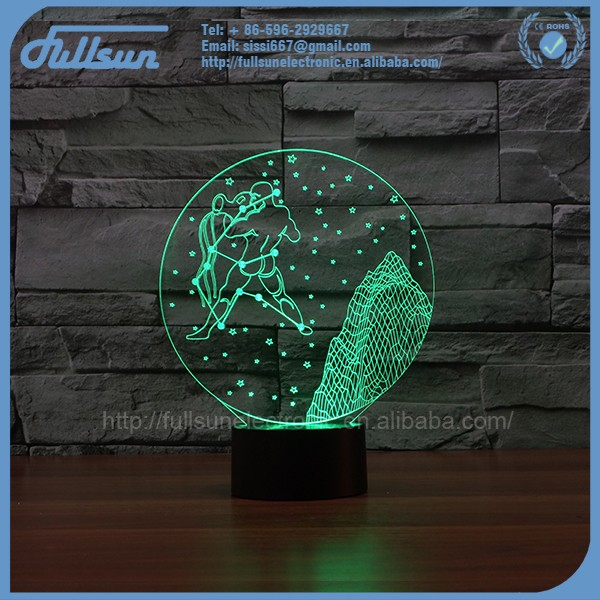 FS-3063-12 3d led illusions receptacle night light the Aquarius shape for gift