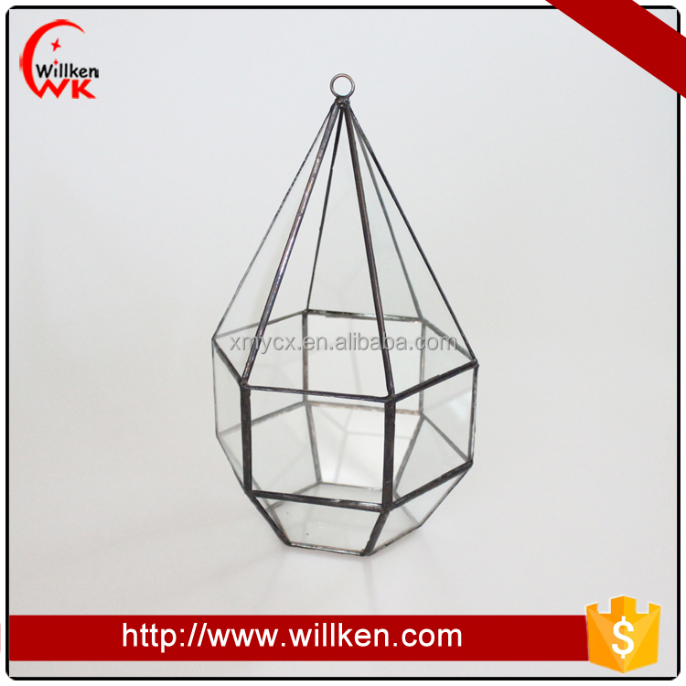 Hanging geometric glass container fern terrarium jars