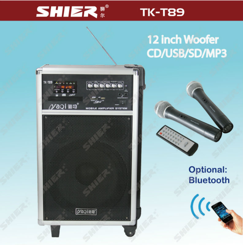 SHIER TK-T89 Professional 12inch PA wireless portable pa system with cd player