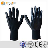 13gauge Black Nylon Nitrile Coated Palm Glove