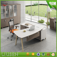 Low price european office furniture wood half round modern office desk white