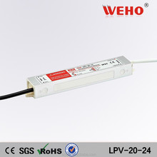 Low power consumption 20w single output waterproof 24 volt ac dc led driver
