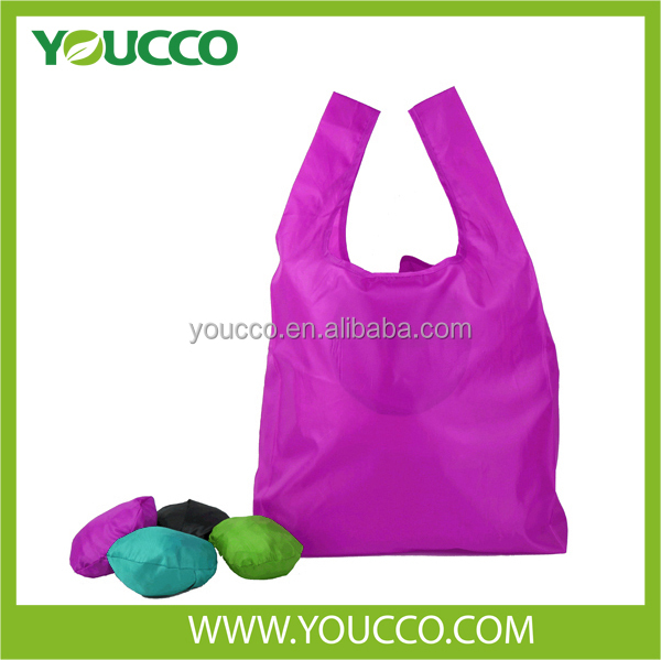 Large Nylon Reusable Shopping Bag Foldable Ball shaped Recyclable Promotional Bag