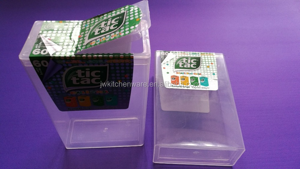 custom PP plastic box for Tic Tac Mint drops in JIEWEI