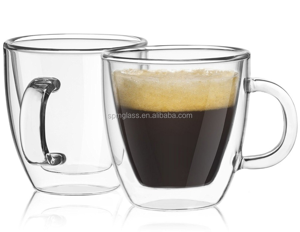 Handmade Borosilicate Glass Eco-Friendly Feature Double Wall Glass Espresso Cup
