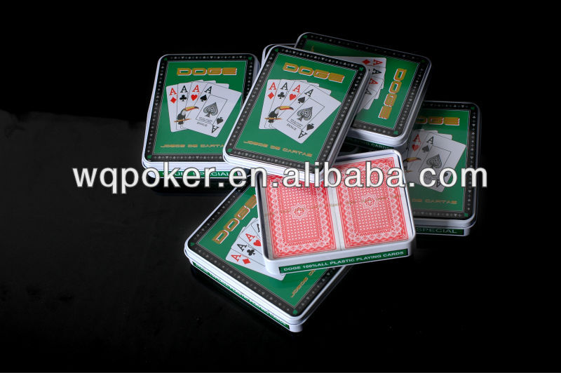 Customized design playing cards made of green plastic material just for fun