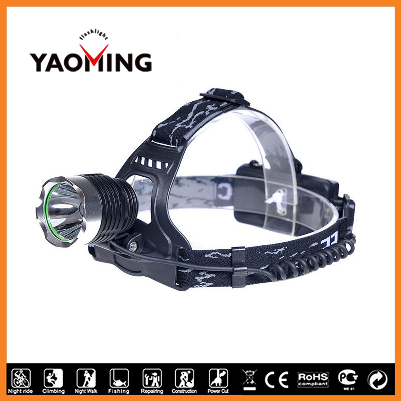 Outdoor Waterproof 1600lm XPE R5 LED Headlamp Powered by 2 X 18650 Rechargeable Batteries Headlamp Flashlight YM-3026