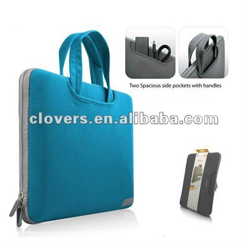 sharp blue color laptop case with handle and useful pockets