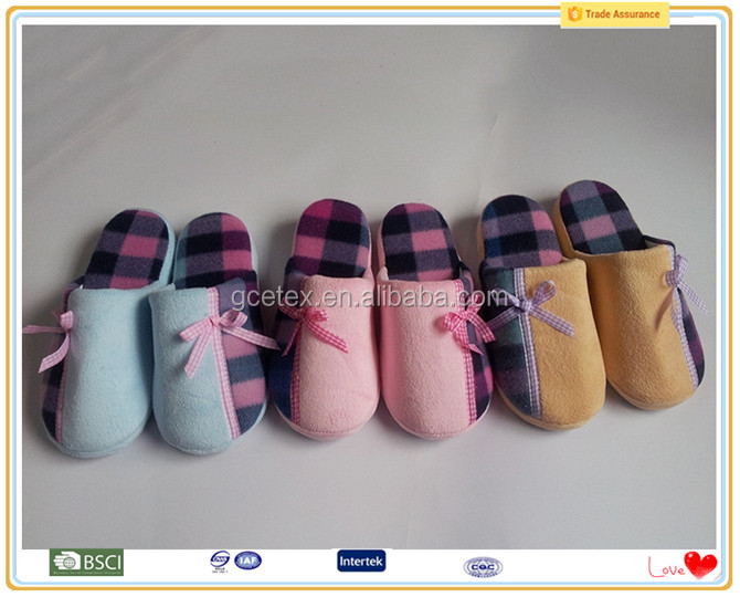 Short plush soft sole indoor flat feet slippers