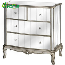 ANTIQUE SILVER FRENCH MIRRORED GLASS CHEST DRAWERS BEDROOM ARGENTE
