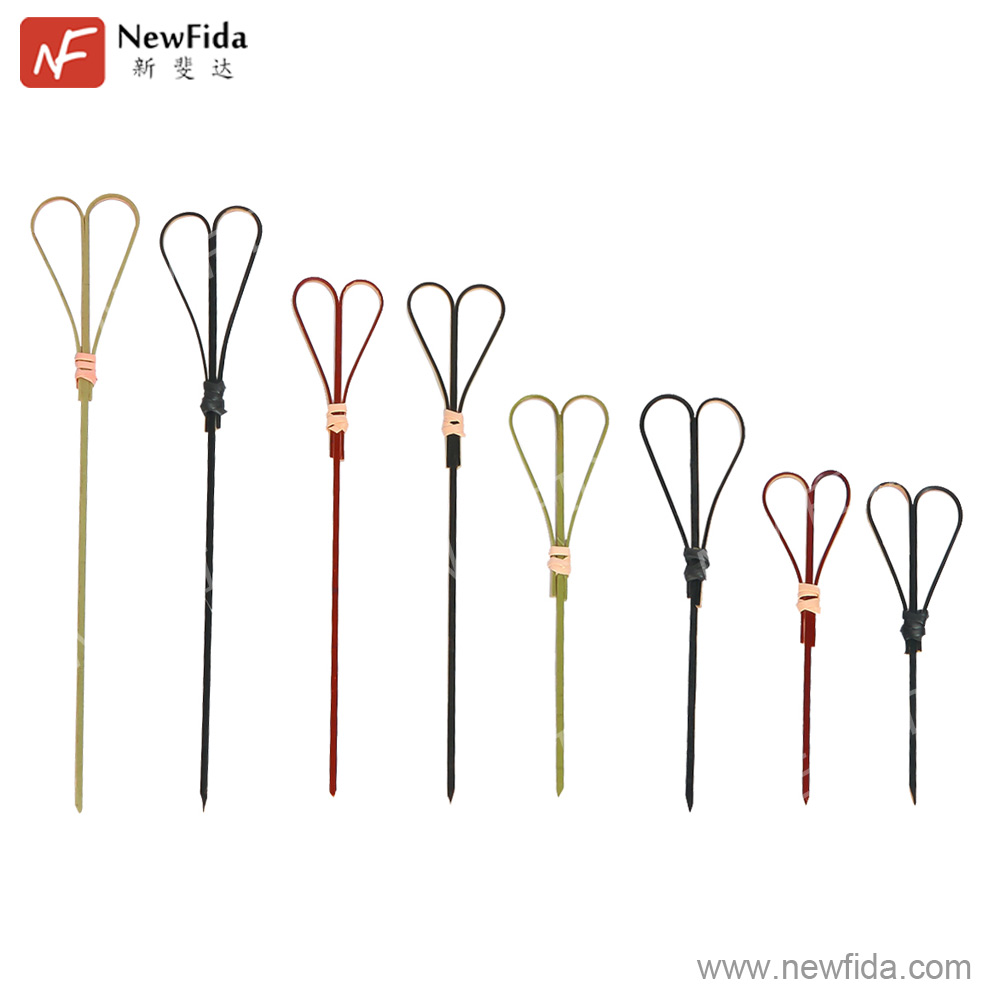 Good Quality 3.54, 3.94, 4.72, 5.91 inch Wholesale Heart-shaped Bamboo Skewers