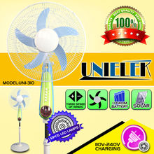 12V dc portable fans with rechargeable battery cells 16 inch 12pcs leds battery fan