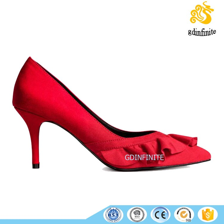 Fashion Women Suede Flower Edge High Heels 2017 New Style Ladies Shoes
