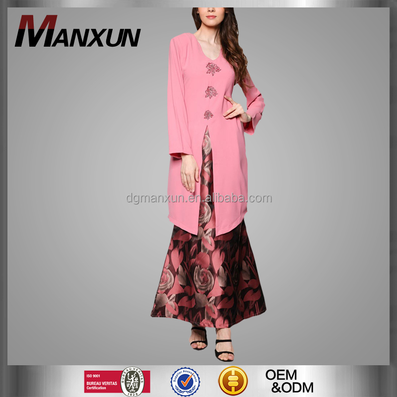 New Fashion Printing Baju Kurung Dubai Design Muslim Dress Turkish Islamic Clothing Wholesale