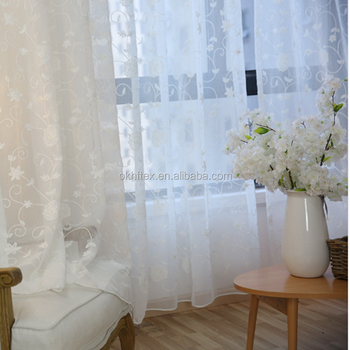 luxury flower kitchen window treatments tulle sheer curtains