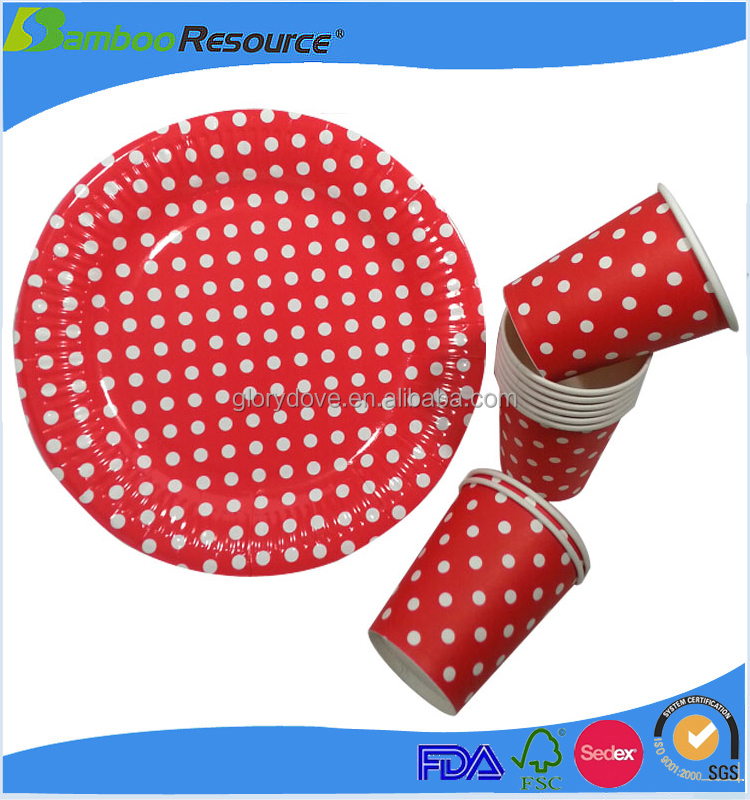 Custom printed Promotional disposable paper 16oz red cups dinner plate