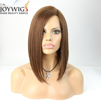 Unprocessed top grade short hair cut medium brown color human hair bob style lace front wig