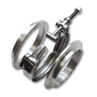 2 INCH Mirror Polished V-Band Flange & Clamp Kit for Turbo Exhaust Downpipes MILD STEEL