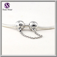 Solid 925 silver star safety chain beads fit Original charms bracelet&necklace beads with CZ DIY jewellery