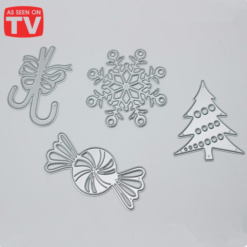 4 pieces candle snowflake tree sugar carbon steel christmas cutting dies scrapbook
