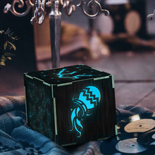 Aquarius Symbol Zodiac Decorative Wood Table Lamp Night Light Mulit-Color Changing LED Small Desk Lamp