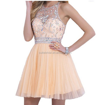 Sheer Back High Waist Short Party Dresses Pleats Skirt Crystals ladies graduation dresses Sheer Neck Blush Homecoming Dress