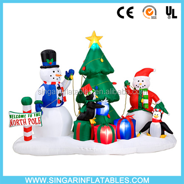 Inflatable outdoor decorations christmas tree standing santa snowman with penguin gift boxes for advertising
