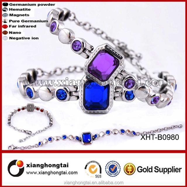 New design women's Blue Purple Gemstone healthy stainless steel germanium powder bracelet for men women