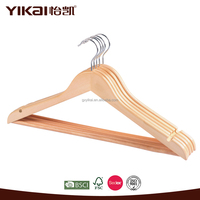 Wooden Clothes Flat Round Bar and U Notches Shirt Hanger/ Rack Hanger
