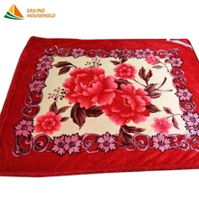 100% polyester winter warm soft flower printing fleece raschel blanket